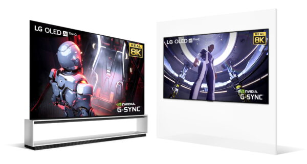 A pair of LG 8K OLED TVs - one on a TV stand and the other mounted on the wall - offering smooth and immersive 8K gaming experiences with the LG OLED AI ThinQ, Real 8K, and NVIDIA G-Sync logos in the corners of both displays