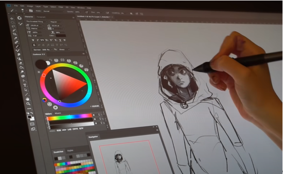 YouTuber Honeyball using an LG UltraGear monitor and sketching software to draw a picture of a character wearing a hoodie.