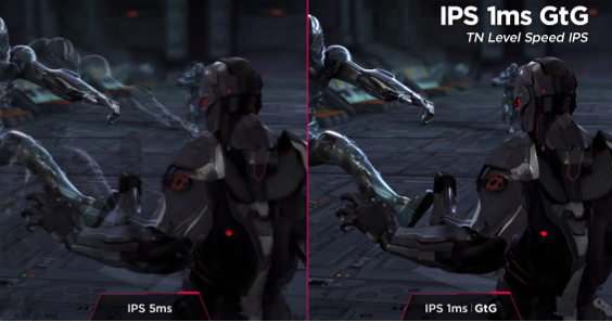 An image using the gameplay of a futuristic action title to compare the more conventional IPS 5ms monitor speed with that of LG UltraGear's rapid IPS 1ms GtG.